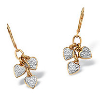 Diamond Accent 18k Yellow Gold over Sterling Silver Dangling Heart Charm Drop Earrings