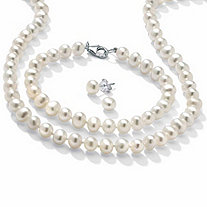 "Cultured Freshwater Pearl Sterling Silver 18"" Necklace Bracelet and Stud Earrings Set"