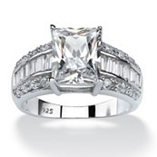 4.94 TCW Emerald-Cut Cubic Zirconia Platinum Over Sterling Silver Ring
