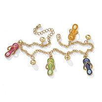 Austrian Crystal Enamel Flip-Flop Ankle Bracelet in Yellow Gold Tone