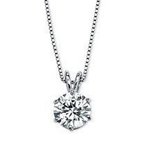 3 Carat Round Cubic Zirconia Platinum over Sterling Silver Solitaire Pendant and Box Chain 18