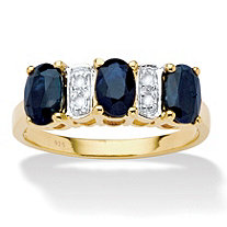 1 7/8 TCW Oval-Cut Genuine Blue Sapphire and Diamond Accent 18k Gold over Sterling Silver Ring