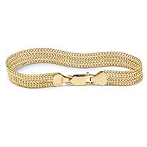 18k Yellow Gold Over Sterling Silver Mesh Bracelet 7 1/4""