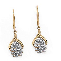 Diamond Accent 18k Yellow Gold over Sterling Silver Cluster Drop Earrings