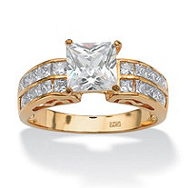 2.42 TCW Princess-Cut Cubic Zirconia Ring in 18k Gold over Sterling Silver