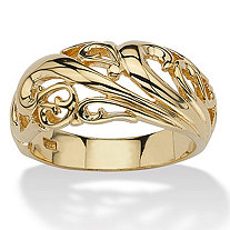 18k Gold over Sterling Silver Swirl Dome Ring