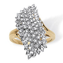 1/7 TCW Round Diamond Pave 18k Gold over Sterling Silver Cluster Ring