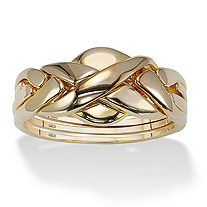 18k Yellow Gold over Sterling Silver Puzzle Ring