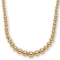 18k Yellow Gold over Sterling Silver Graduated Bead Necklace 17""