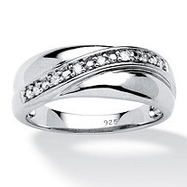 Men's 1/10 TCW Round Diamond Platinum Over Sterling Silver Wedding Band Ring