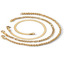 Rope, Herringbone and Figaro 18k Yellow Gold over Sterling Silver Ankle Bracelet 3-Piece Set 10""