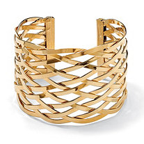 Lattice Cuff Bracelet in Yellow Gold Tone
