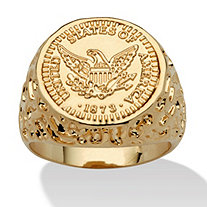 Men's American Eagle Coin Ring in 14k Gold-Plated