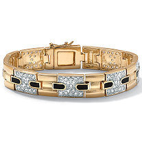 Men's 2.52 TCW Genuine Onyx Cubic Zirconia 14k Yellow Gold-Plated Bar-Link Bracelet 8""