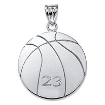 Sterling Silver Personalized Basketball Charm Pendant