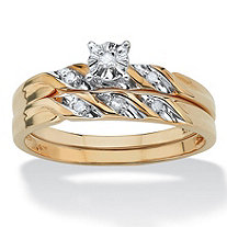 Diamond Accent 10k Yellow Gold 2-Piece Bridal Engagement Ring Wedding Band Swirl Set