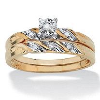 Diamond Accent 10k Yellow Gold 2-Piece Bridal Engagement Ring Wedding Band Swirl Set