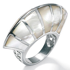 Mother-Of-Pearl Silver Inlaid Ring | Shop PalmBeach  & Save!