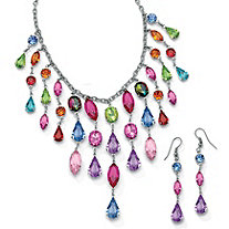 2 Piece Multi-Colored Crystal Bib Necklace and Earrings Set in Antiqued Silvertone