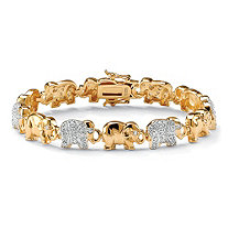 1.32 TCW Pave Cubic Zirconia 18k Yellow Gold Over Sterling Silver Lucky Elephant Bracelet 8""