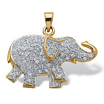 .92 TCW Round Cubic Zirconia 18k Yellow Gold over Sterling Silver Elephant Pendant