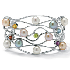Multi-Gem Silver Cuff Bracelet | Shop PalmBeach  & Save!