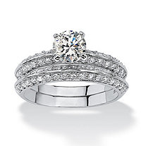 2.10 TCW Round Cubic Zirconia Platinum over Sterling Silver Two-Piece Bridal Engagement Ring Set