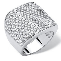 3.75 TCW Round Cubic Zirconia Platinum over Sterling Silver Pave Dome Ring