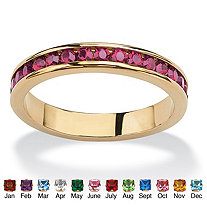 Round Simulated Birthstone 14k Yellow Gold-Plated Eternity Band