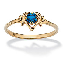 Oval Cut Simulated Birthstone 14k Yellow Gold-Plated Heart-Shaped Ring