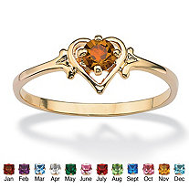 Oval-Cut Birthstone Heart-Shaped Ring in 14k Gold-Plated