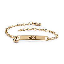 Round Simulated Birthstone Goldtone Metal Personalized I.D. Name Bracelet With Heart Charm 7 1/4""