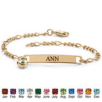 Simulated Birthstone Personalized I.D. Name Bracelet With Heart Charm in Yellow Gold Tone 7 1/4""