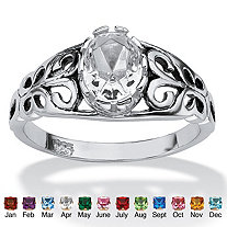 Oval Cut Simulated Birthstone Sterling Silver Ring