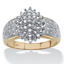 1/4 TCW Round Diamond Marquise-Shaped Cluster Ring in 10k Gold