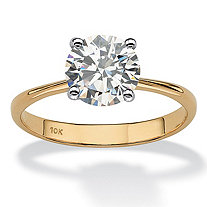2.50-Carat Round Genuine Topaz 10k Yellow Gold Solitaire Bridal Engagement Ring