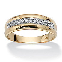 Men's 1/5 TCW Round Diamond 10k Yellow Gold Wedding Band