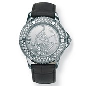 "Silvertone Metal Baby Phat Crystal Logo Watch 7"" Black Leather"