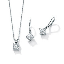 3.60 TCW Princess-Cut Cubic Zirconia Platinum Over Sterling Silver Pendant and Earrings Set