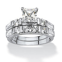 3.46 TCW Princess-Cut Cubic Zirconia Platinum Over Sterling Silver Bridal Engagement Wedding Set