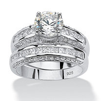2 Piece 3.20 TCW Round Cubic Zirconia Bridal Ring Set in Platinum over Sterling Silver