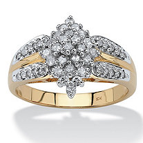 1/2 TCW Diamond Cluster Ring in 10k Gold