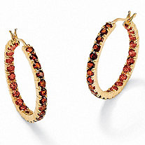 6.24 TCW Round Genuine Garnet 18k Gold over Sterling Silver Hoop Earrings