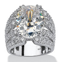 10.82 TCW Oval-Cut Cubic Zirconia Sterling Silver Sparkler Engagement/Anniversary Ring
