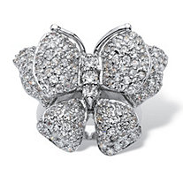 4.50 TCW Round Cubic Zirconia Sterling Silver ButterfLy Ring Sizes 7-12