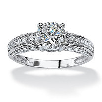 1.80 TCW Round Cubic Zirconia 10k White Gold Ring
