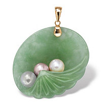 Jade and Pearl Shell Pendant in 14k Gold