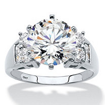 4.66 TCW Round Cubic Zirconia Ring in 10k White Gold