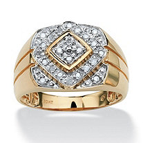 Men's 1/4 TCW Round Diamond Geometric Ring in 10k Gold