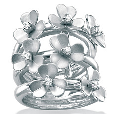 CZ Silver Flower Ring | Shop PalmBeach  & Save!